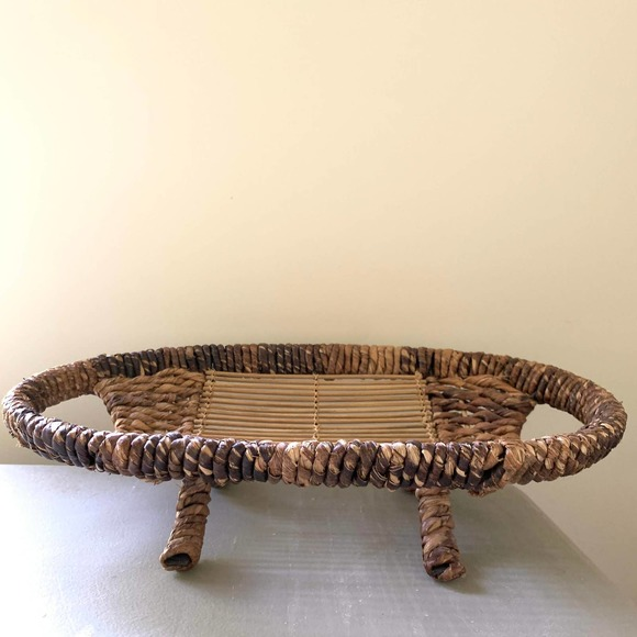 Vintage Woven Basket Display Brown Home Decor